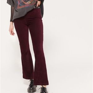 Urban Outfitters Maroon Velvet cropped flare pants